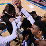 Westchester Knicks players huddle together prior a NBA D-league regular season basketball game between the Delaware 87ers and the Westchester Knicks Tuesday, JAN, 19, 2016 at The Bob Carpenter Sports Convocation Center in Newark, DEL