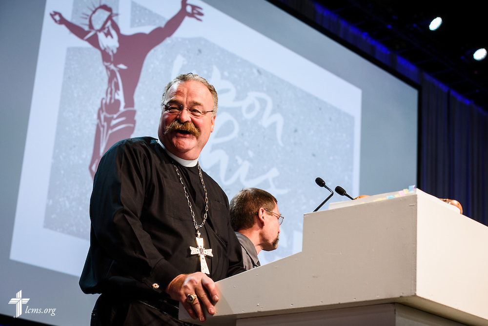 The Rev. Dr. Matthew C. Harrison, president of the LCMS, reacts Thursday, July 14, 2016, at the 66th Regular Convention of The Lutheran Church–Missouri Synod, in Milwaukee. LCMS/Michael Schuermann