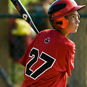 8/16/10 Aberdeen, MD: Canada's pinch hitter JOEL PINEAU flys out to center as CANADA lose to Mexico 17-0 at Cal Ripken world series. Special To Monsterphoto/SAQUAN STIMPSON