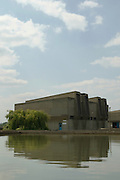 Sedimentation tanks and treatment buildings: a tiny part of the massive complex at Beckton Sewage Treatment Works which treats Sewage from 3.4 million Londoners every day.