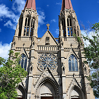 Cathedral of Saint Helena in Helena, Montana<br /> The Votive Church in Vienna (Votivekirche) has stunning neo-Gothic architecture and was the inspiration for building the Cathedral of Saint Helena, Montana in 1914. The church features double spires rising 230 feet and 59 stained glass windows from Bavaria, Germany. A major benefactor was Thomas Cruse. His funeral was the first one in the church before the project was finished. The cathedral was consecrated in 1924.