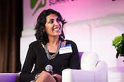 """Deepa Sureka, General Manager & Senior Vice President, North America for Rakuten Marketing on """"Data Analytics Is The New Currency"""" panel during Media Technology Summit 2014 on October 23, 2014. The 7th Annual Media Technology Summit meticulously curates a gathering of global trailblazers, innovators and investors. Landmark Ventures and Shelly Palmer bring together their exclusive global networks of Fortune 500 executives, venture capitalists, entrepreneurs and luminaries; to do business at the nexus of content, hardware, software and brands. The Media Tech Summit 2014 offered a place for the brightest minds to challenge paradigms, forecast trends and innovations, and share their rebellious perspectives in order to establish individual strategies to move forward in this connected world. (Photo: Jeffrey Holmes)"""