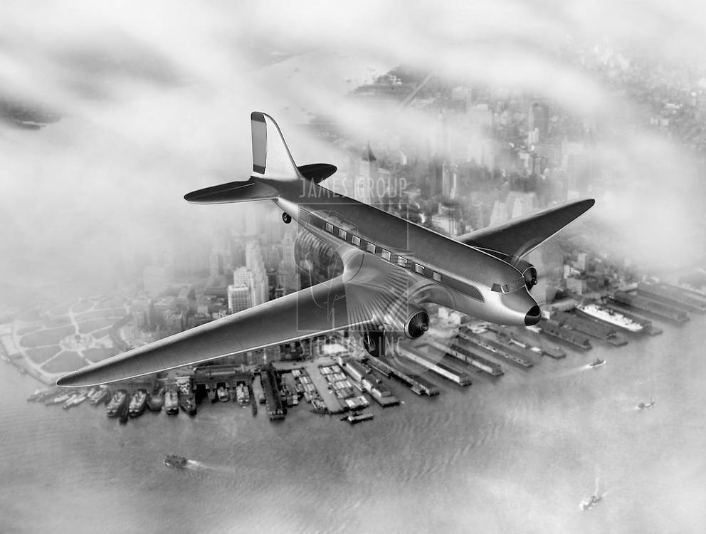 Vintage image of a Douglas DC-3 over New York City