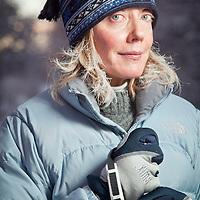 Cross country skiier, Lieve Van Lint, on the Coastal Trail near Westchester Lagoon, Anchorage