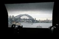 Sydney Harbour bridge seen from a suburban train.