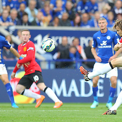 Manchester United's Daley Blind shoots during the Barclays Premiership match between Leicester City FC and Manchester United FC, at the King Power Stadium, Leicester, 21st September 2014 © Phil Duncan | SportPix.org.uk