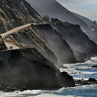 Fog Along Cliffs, Road and Crashing Surf on Big Sur Coast, California<br />