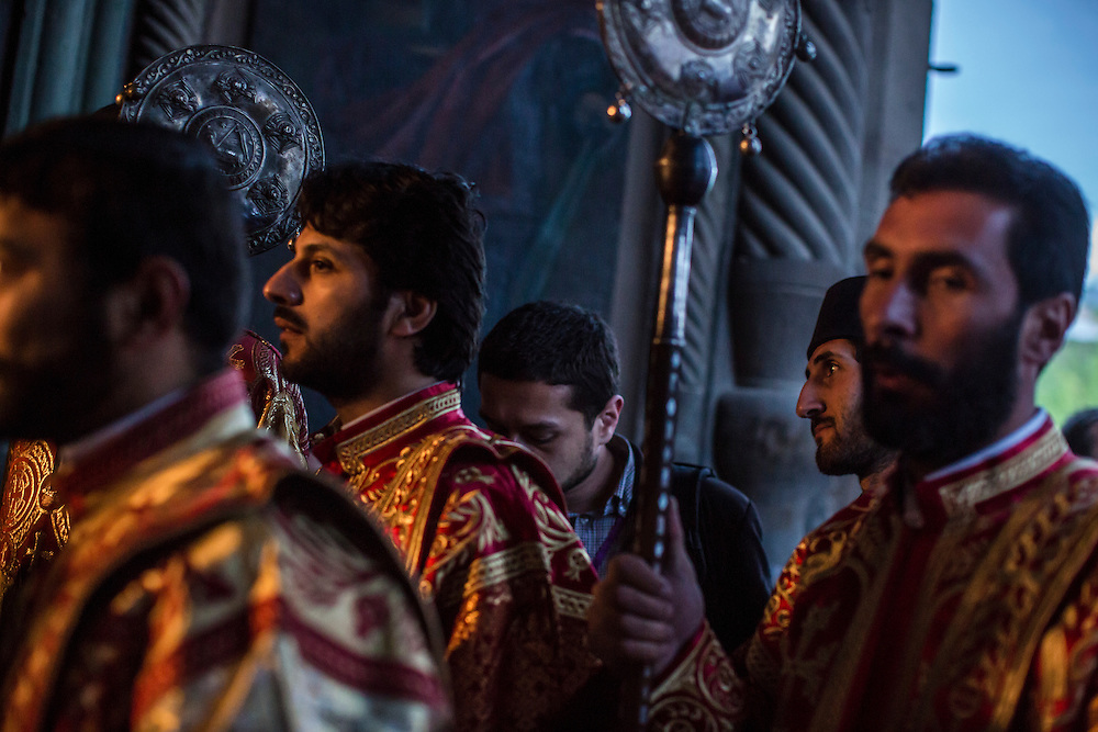 VAGHARSHAPAT, ARMENIA - APRIL 23: Members of the Armenian Apostolic Church participate in a canonization ceremony for victims of the Armenian genocide Etchmiadzin Cathedral, which is the mother church of the Armenian Apostolic Church and is considered the oldest cathedral in the world, on April 23, 2015 in Vagharshapat, Armenia. Tomorrow will mark the one hundredth anniversary of events generally considered to be the start of a campaign of genocide against minority ethnic Armenians living in present-day eastern Turkey by the Ottoman government over fears of their allegiance during World War I. (Photo by Brendan Hoffman/Getty Images) *** Local Caption ***