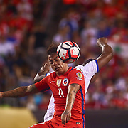 Chile Attacker EDUARDO VARGAS (11) heads the ball toward the net in the second half of a Copa America Centenario Group D match between the Chile and Panama Tuesday, June. 14, 2016 at Lincoln Financial Field in Philadelphia, PA.