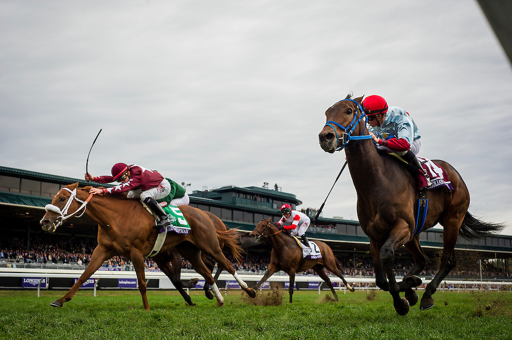 October 31, 2015:  Mongolian Saturday with Florent Geroux defeats Lady Shipman to win the Breeders' Cup Turf Sprint at Keeneland Race Track in Lexington, Kentucky. Evers/ESW/CSM
