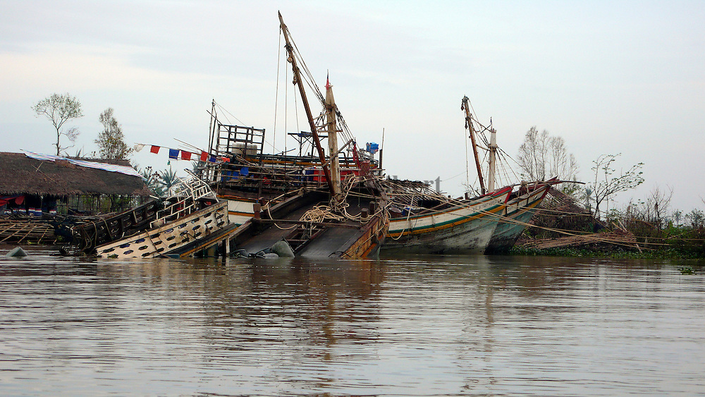 Boats detroyed by Cyclone Nargis. Many people in the Delta region are fishermen and they have lost their livelihood in the cyclone.