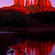 Cathedral Rocks reflect in a creek in Red Rock Crossing State Park, Sedona, AZ.