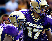 JMU wide receiver Kerby Long (left) and tailback Griff Yancey celebrate following Long's touchdown in the third quarter during Saturday's game against UMass at Bridgeforth Stadium in Harrisonburg.