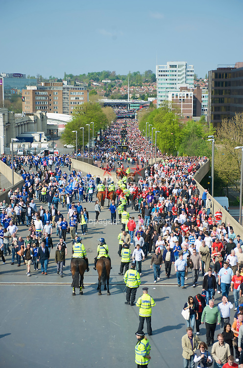 LONDON, ENGLAND - Sunday, April 19, 2009: Manchester United and Everton supporters walk down Wembley Way before the FA Cup Semi-Final match at Wembley. (Photo by David Rawcliffe/Propaganda)