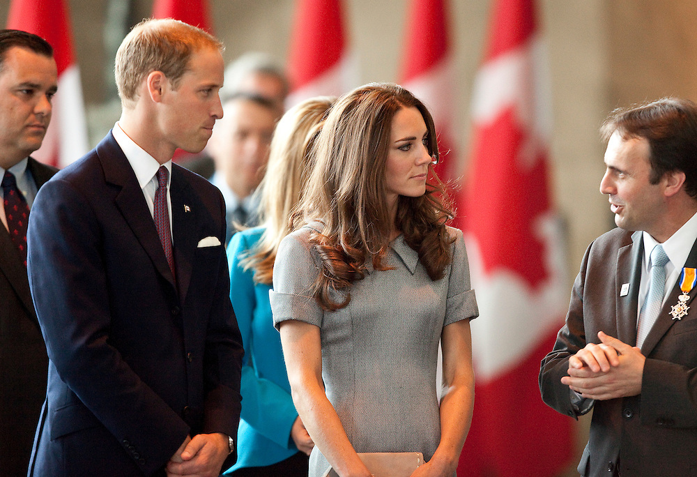 Britain's Prince William and his wife Catherine the Duchess of Cambridge tour the War Museum in Ottawa, Canada,  July 2, 2011, on the third day of their nine day tour of Canada.<br /> AFP PHOTO/GEOFF ROBINS