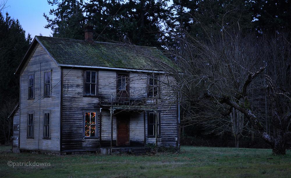 The old Knutson farm house at Christmas. Sequim, WA (John Knutson 1853-1925)