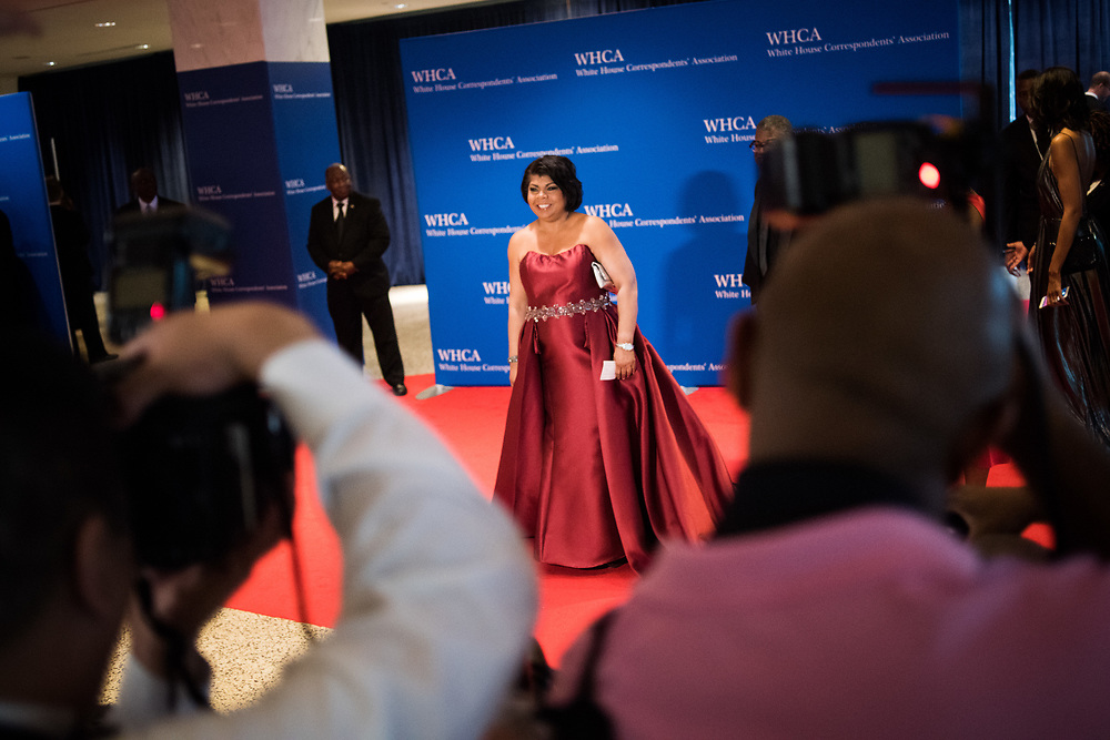 April Ryan, White House correspondent and Washington bureau chief for American Urban Radio Networks is photographed as she arrives on the red carpet during the White House Correspondents' Dinner in Washington, D.C. on April 29, 2017. CREDIT: Mark Kauzlarich for CNN