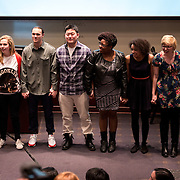 (From left to right) Corinne Gould, Grace Armstrong, Derek DesRosier, Aaron Lee, Chare Gilliam, Sydney Stuckey, Devin Devine and Emmanuel 'Manny' Lopez at the Diversity Monologues 2014. (Photo by Gonzaga University)