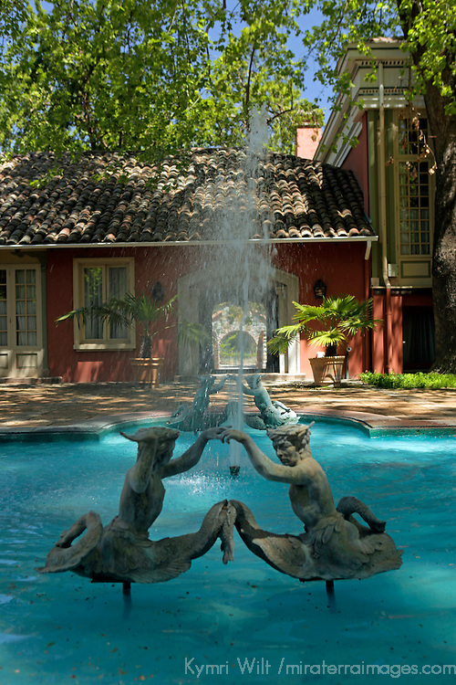 South America, Chile, Santiago. Fountain at Santa Rita Winery.