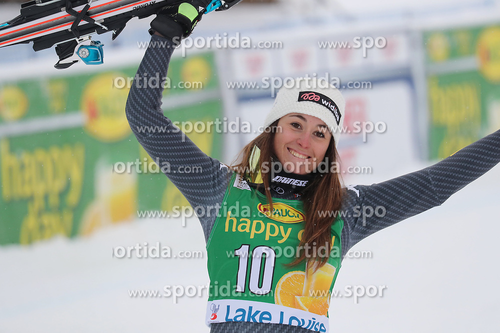 04.12.2016, Lake Louise, USA, FIS Weltcup Ski Alpin, Lake Louise, Super G, Damen, Siegerpr&auml;sentation, im Bild Sofia Goggia (ITA, 3. Platz) // third placed Sofia Goggia of Italy during the winner presentation for the women's SuperG of the Lake Louise FIS Ski Alpine World Cup at the Lake Louise, United Staates on 2016/12/04. EXPA Pictures &copy; 2016, PhotoCredit: EXPA/ SM<br /> <br /> *****ATTENTION - OUT of GER*****