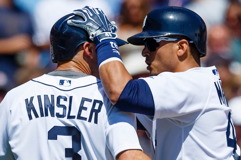 Aug 6, 2015; Detroit, MI, USA; Detroit Tigers designated hitter Victor Martinez (41) celebrates his two run home run with second baseman Ian Kinsler (3) in the fifth inning against the Kansas City Royals at Comerica Park. Mandatory Credit: Rick Osentoski-USA TODAY Sports