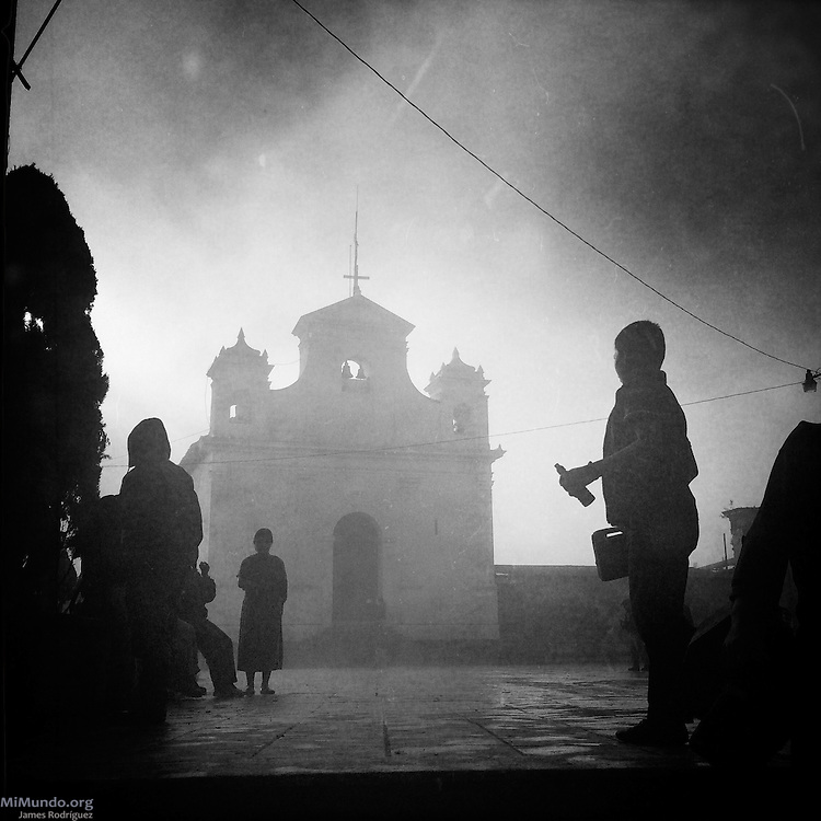 Morning scene in Nebaj's central square. Nebaj is a town in the Guatemalan highlands and one of the three municipalities where Ixil Mayans live. This was the hardest hit area during the civil war as counterinsurgency measures meant eradicating entire villages. Nebaj, Quiche, Guatemala. November 4, 2015.