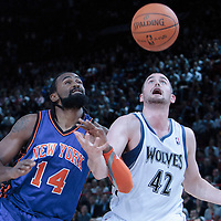06 October 2010: New York Knicks center Ronny Turiaf #14 vies for a rebound with Minnesota Timberwolves forward Kevin Love #42 during the Minnesota Timberwolves 106-100 victory over the New York Knicks, during 2010 NBA Europe Live, at the POPB Arena in Paris, France.