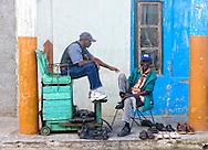 Shoe shine in Moron, Ciego de Avila, Cuba.