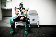 Lucha Libre AAA wrestler Laredo Kid recovers in his dressing room after a match in San Jose, CA March 29, 2009.