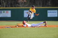 Lafayette High's D.K. Buford (3) steals second base vs. Olive Branch in Oxford, Miss. on Wednesday, March 13, 2013.