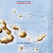 Map of our April 19-26, 2009 cruise itinerary on the yacht Eric operated by Ecoventura.com, in Galapagos Islands, which are a province of Ecuador, South America. In 1959, Ecuador declared 97% of the land area of the Galápagos Islands to be Galápagos National Park, which UNESCO registered as a World Heritage Site in 1978. Ecuador created the Galápagos Marine Reserve in 1998, which UNESCO appended in 2001.