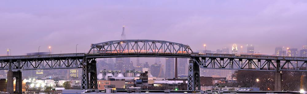Rainy morning in New York City. Kostyushko Bridge.