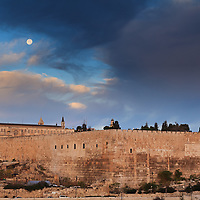 The Temple Mount, Dome of the Rock and Al Aqsa mosque under the setting Moon.