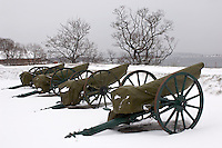 Artillery Guarding Oslo at the Akeshus Fortress. Winter in Oslo Norway.