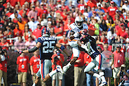 Auburn wide receiver Sammie Coates (18) makes a catch as Ole Miss defensive back Senquez Golson (21) defends at Vaught-Hemingway Stadium in Oxford, Miss. on Saturday, October 13, 2012.