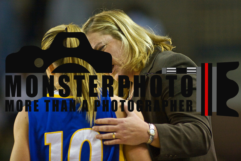 03/03/2010 NEWARK, DE: Hofstra Women's Head Coach Krista Kilburn-Steveskey (Right) provides instructions to her Guard Candice Bellocchio #10 during a NCAA Women's basketball game against Delaware.<br /> <br /> Freshman Elena Delle Donne out of Wilmington demolished The Lady Pride of Hofstra Leading the Hens with 27 points as the Delaware Women's Basketball team win 59-41 over Hofstra wednesday evening in front of a large crowd at the Bob Carpenter Center.
