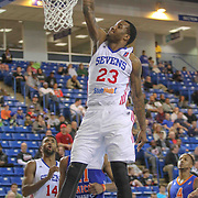 Delaware 87ers Forward Victor Rudd (23) attempts a shot in the paint in the first half of a NBA D-league regular season basketball game between the Delaware 87ers and the Westchester Knicks (New York Knicks) Sunday, Dec. 28, 2014 at The Bob Carpenter Sports Convocation Center in Newark, DEL