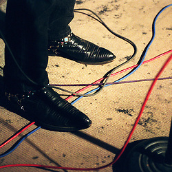 Cowboy boots on a stage in Nashville, Tennessee.