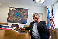 MADISON, WI — SEPTEMBER 15: Madison Mayor Paul Soglin takes a phone call in his office inside the City County Building in downtown Madison, Tuesday, September 15, 2015.