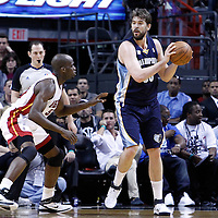 12 March 2011: Memphis Grizzlies center Marc Gasol (33) looks to pass during the Miami Heat 118-85 victory over the Memphis Grizzlies at the AmericanAirlines Arena, Miami, Florida, USA. **