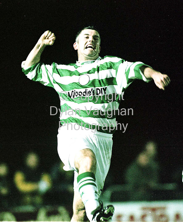 25/9/98 EXAMINER.SHAMROCK ROVERS TONY COUSINS PICTURED CELEBRATING HIS GOAL AGAINST WATERFORD UTD IN WATERFORD LAST NIGHT.PICTURE DYLAN VAUGHAN