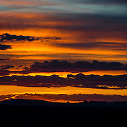 USA, West, Southwest, Arizona, AZ, Petrified Forest, Painted Desert, <br /> Sunset over the Painted Desert from Pintado Point in Petrified Forest National Park, AZ.