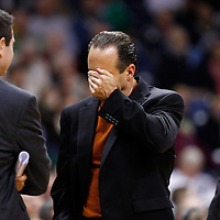 SOUTH BEND, IN - DECEMBER 21: Head coach Mike Brey of the Notre Dame Fighting Irish reacts during a timeout against the Niagara Purple Eagles at Purcel Pavilion on December 21, 2012 in South Bend, Indiana. (Photo by Michael Hickey/Getty Images) *** Local Caption *** Mike Brey