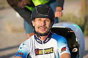 Damjan Zabovnik tijdens de zesde racedag. In Battle Mountain (Nevada) wordt ieder jaar de World Human Powered Speed Challenge gehouden. Tijdens deze wedstrijd wordt geprobeerd zo hard mogelijk te fietsen op pure menskracht. Ze halen snelheden tot 133 km/h. De deelnemers bestaan zowel uit teams van universiteiten als uit hobbyisten. Met de gestroomlijnde fietsen willen ze laten zien wat mogelijk is met menskracht. De speciale ligfietsen kunnen gezien worden als de Formule 1 van het fietsen. De kennis die wordt opgedaan wordt ook gebruikt om duurzaam vervoer verder te ontwikkelen.<br /> <br /> Damjan Zabovnik on the sixth racing day. In Battle Mountain (Nevada) each year the World Human Powered Speed Challenge is held. During this race they try to ride on pure manpower as hard as possible. Speeds up to 133 km/h are reached. The participants consist of both teams from universities and from hobbyists. With the sleek bikes they want to show what is possible with human power. The special recumbent bicycles can be seen as the Formula 1 of the bicycle. The knowledge gained is also used to develop sustainable transport.