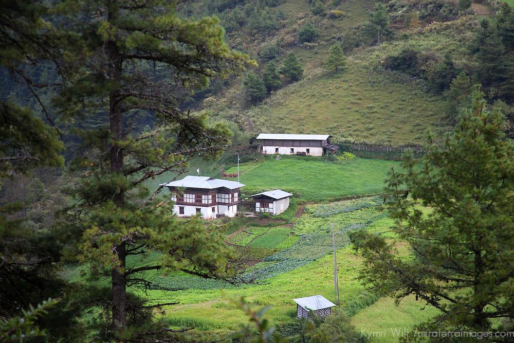 Asia, Bhutan, Trongsa. Farm Landscape scene of Bhutan.