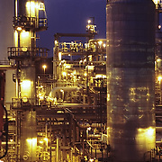 A view from one of the towers of a chemical plant in Lake Charles, Louisiana, at dusk.