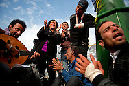 Protesters break into song in Tahrir Square in Cairo, February 6, 2011.  Ann Hermes/© The Christian Science Monitor 2011