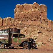 Vintage truck welcomes visitors to Bluff, Utah.