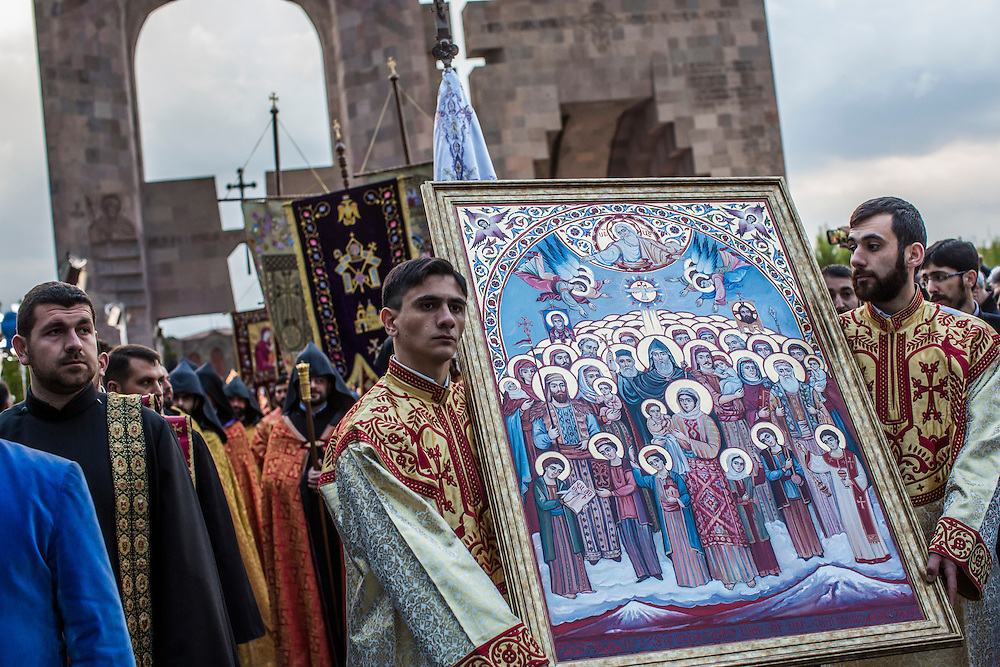 VAGHARSHAPAT, ARMENIA - APRIL 23: Members of the Armenian Apostolic Church participate in a canonization ceremony for victims of the Armenian genocide at the Mother See of Holy Etchmiadzin, a complex that serves as the administrative headquarters of the Armenian Apostolic Church, on April 23, 2015 in Vagharshapat, Armenia. Tomorrow will mark the one hundredth anniversary of events generally considered to be the start of a campaign of genocide against minority ethnic Armenians living in present-day eastern Turkey by the Ottoman government over fears of their allegiance during World War I. (Photo by Brendan Hoffman/Getty Images) *** Local Caption ***