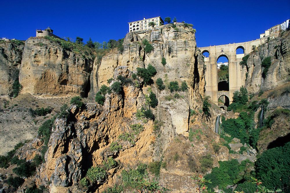 View of the New Bridge (Puente Nuevo) & El Tajo Gorge in Ronda, Spain